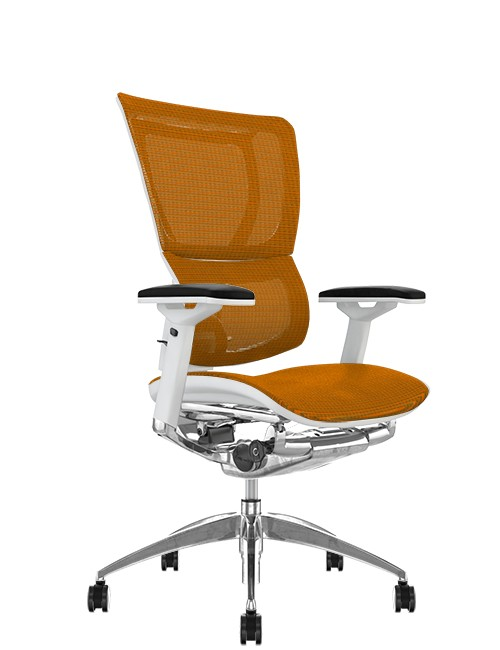Mirus Orange Mesh Office Chair White Frame