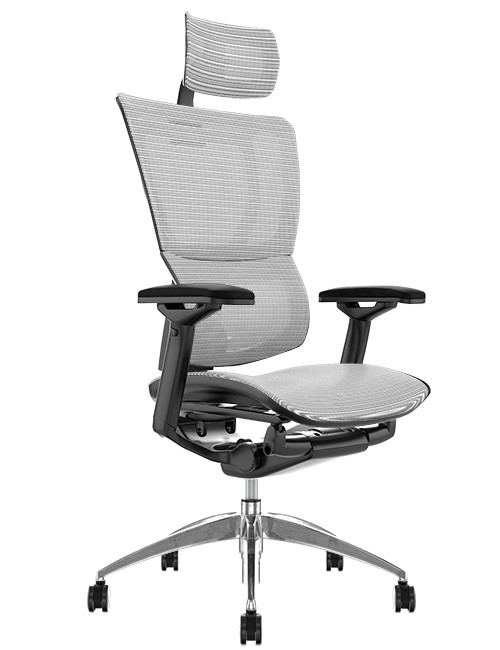 Mirus White Mesh Office Chair with Head Rest and Black Frame