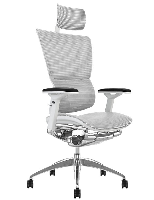 Mirus White Mesh Office Chair White Frame and Head Rest