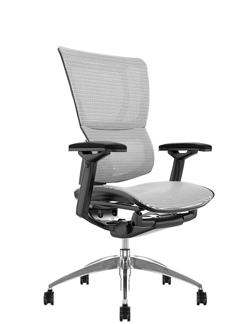 Mirus White Mesh Office Chair, Black Frame, no Head Rest