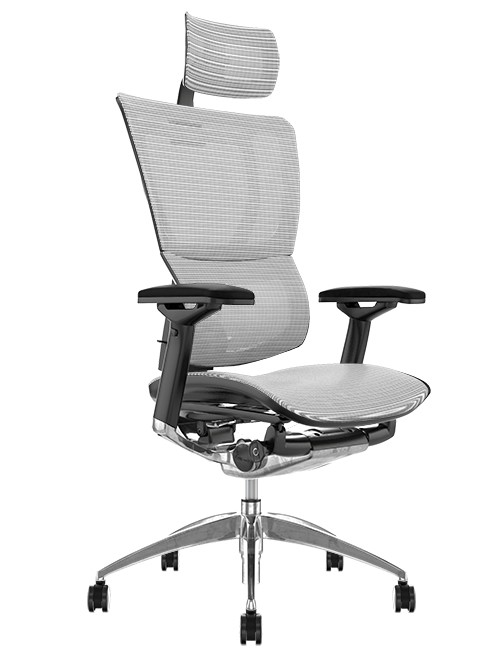 Mirus White Mesh Office Chair, Polished Frame with Head Rest