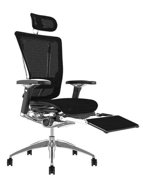 Nefil Black Mesh Office Chair with Head Rest and Leg Rest