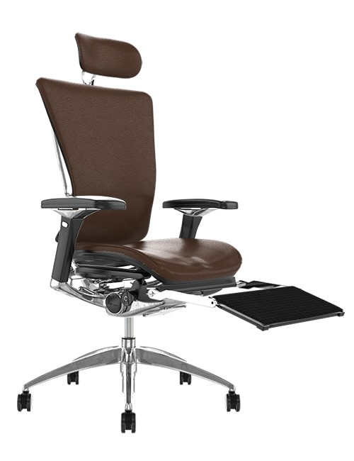 Nefil Brown Leather Office Chair with Head Rest and Leg Rest