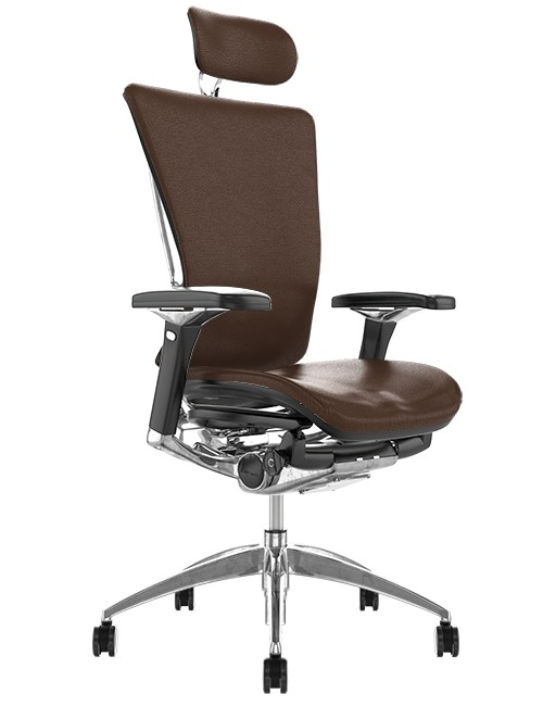Nefil Brown Leather Office Chair with Head Rest