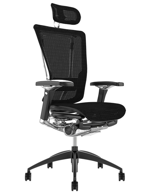 Nefil Ergonomic Black Mesh Office Chair with Head Rest