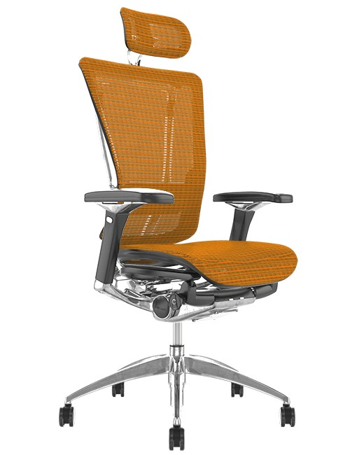 Nefil Ergonomic Orange Mesh Office Chair with Head Rest