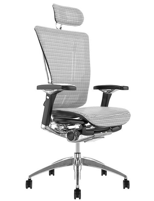 Nefil Ergonomic White Mesh Office Chair with Head Rest