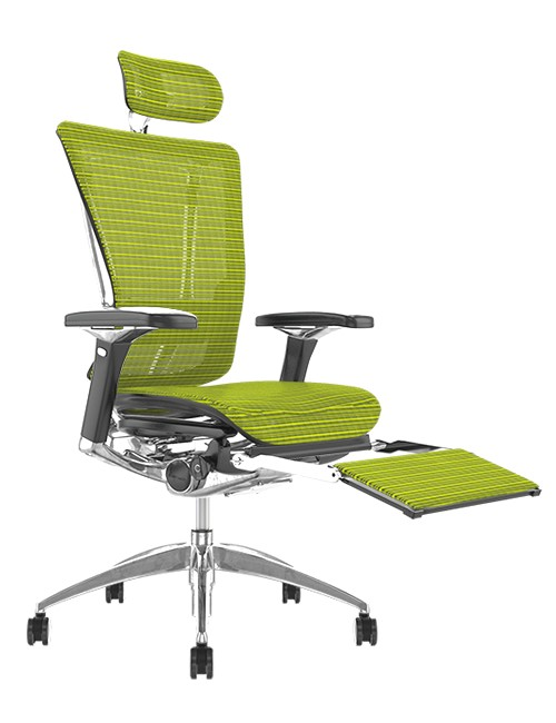 Nefil Green Mesh Office Chair with Head Rest and Leg Rest