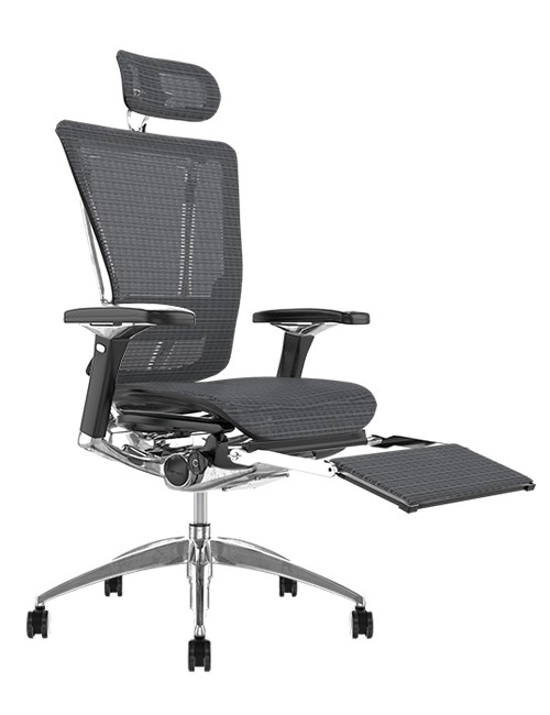Nefil Grey Mesh Office Chair with Head Rest and Leg Rest