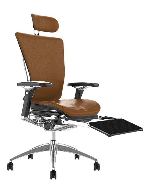 Nefil Latte Leather Office Chair with Head Rest and Leg Rest