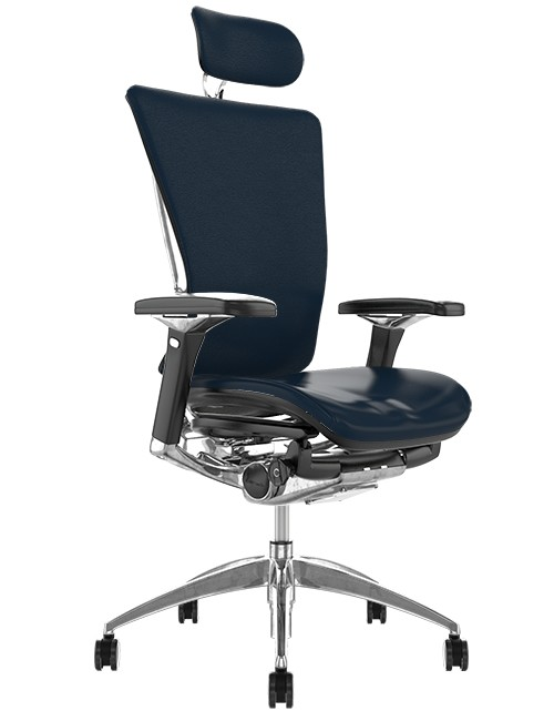 Nefil Black Leather Office Chair with Head Rest