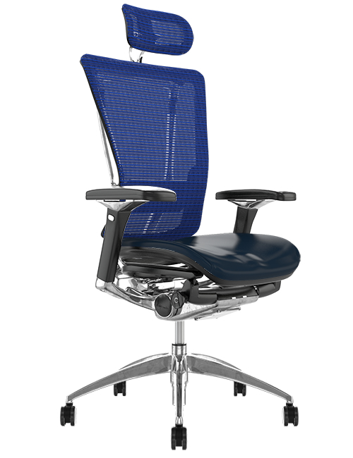 Nefil Black Leather Seat Blue Mesh Back with Head Rest