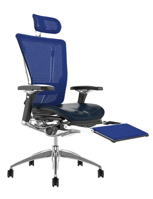 Nefil Black Leather Seat Blue Mesh Back with Mesh Head Rest and Mesh Leg Rest