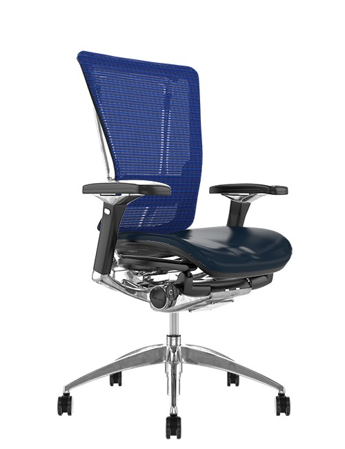 Nefil Office Chair Black Leather Seat Blue Mesh Back