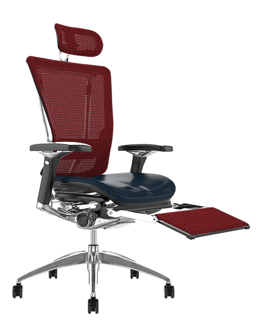 Nefil Black Leather Seat Burgundy Mesh Back with Mesh Head Rest and Mesh Leg Rest