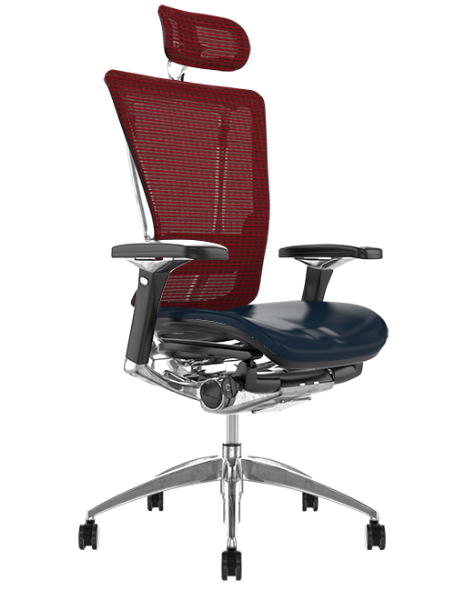 Nefil Black Leather Seat Burgundy Mesh Back with Head Rest