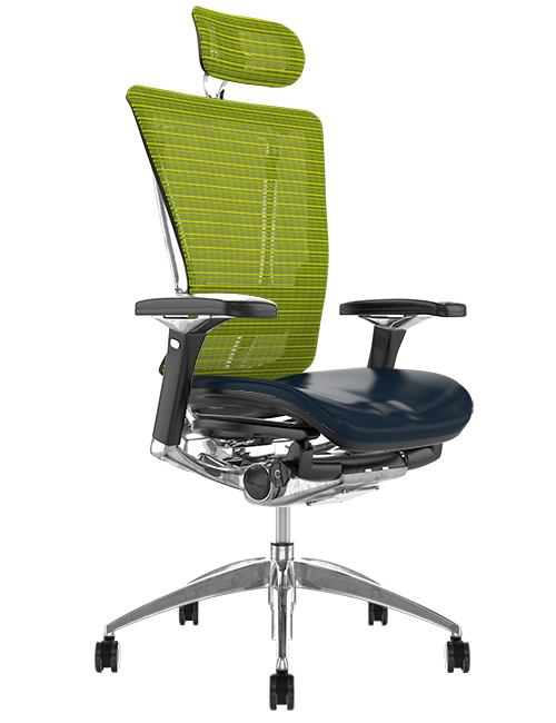 Nefil Black Leather Seat Green Mesh Back with Head Rest