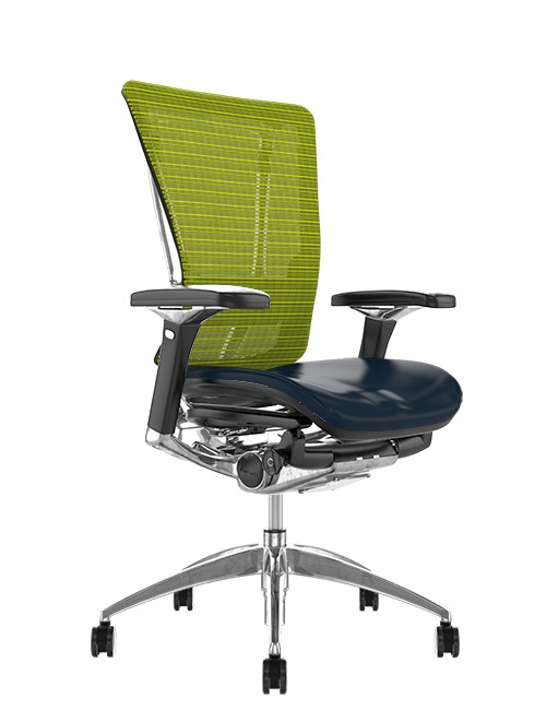 Nefil Office Chair Black Leather Seat Green Mesh Back