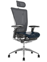 Nefil Black Leather Seat Grey Mesh Back with Head Rest