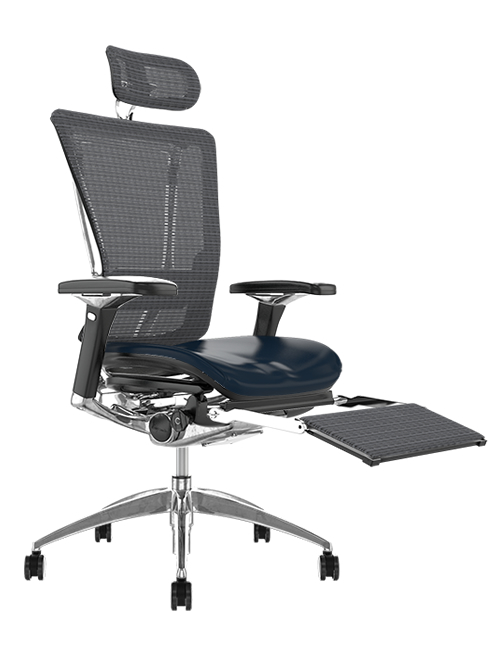Nefil Black Leather Seat Grey Mesh Back with Mesh Head Rest and Mesh Leg Rest