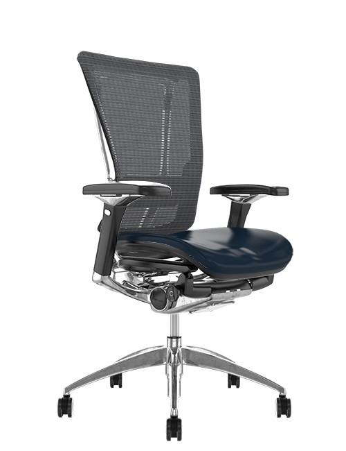 Nefil Office Chair Black Leather Seat Grey Mesh Back