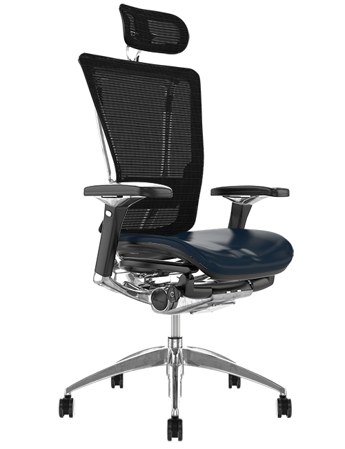 Nefil Black Leather Seat Black Mesh Back with Head Rest