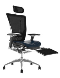 Nefil Black Leather Seat Mesh Back with Black Mesh Head Rest and Mesh Leg Rest