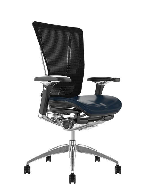 Nefil Office Chair Black Leather Seat Black Mesh Back