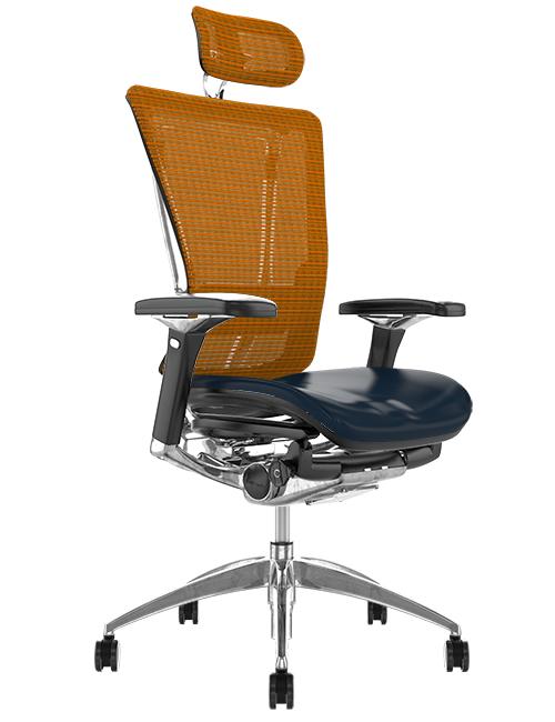 Nefil Black Leather Seat Orange Mesh Back with Head Rest
