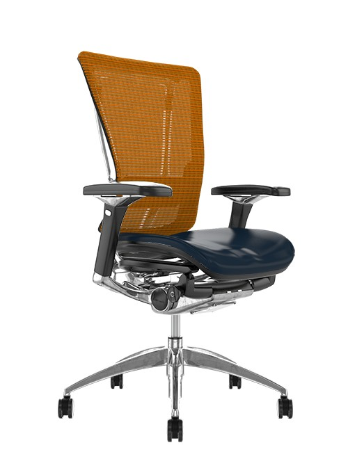 Nefil Office Chair Black Leather Seat Orange Mesh Back