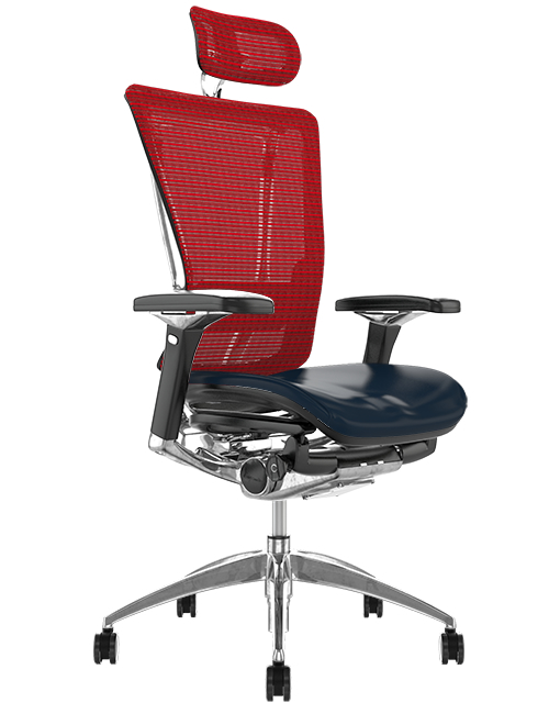 Nefil Black Leather Seat Red Mesh Back with Head Rest