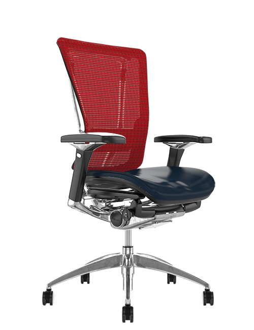 Nefil Office Chair Black Leather Seat Red Mesh Back