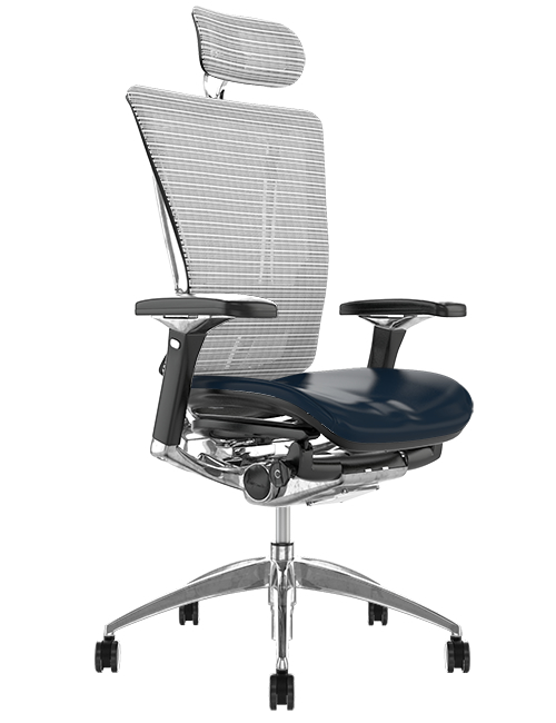 Nefil Black Leather Seat White Mesh Back with Head Rest