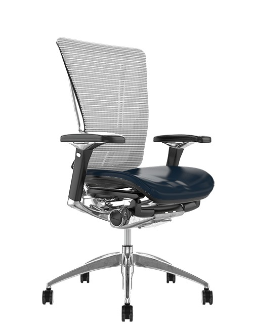 Nefil Office Chair Black Leather Seat White Mesh Back