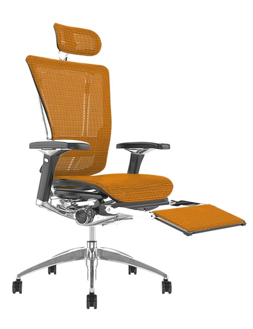 Nefil Orange Mesh Office Chair with Head Rest and Leg Rest