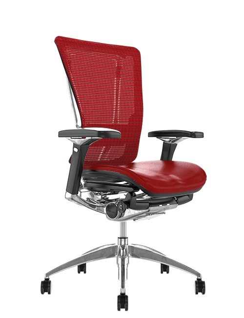 Nefil Office Chair Red Leather Seat Red Mesh Back