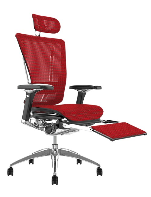 Nefil Red Mesh Office Chair with Head Rest and Leg Rest