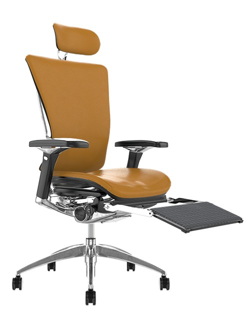 Nefil Tan Saffron Leather Office Chair with Head Rest and Leg Rest