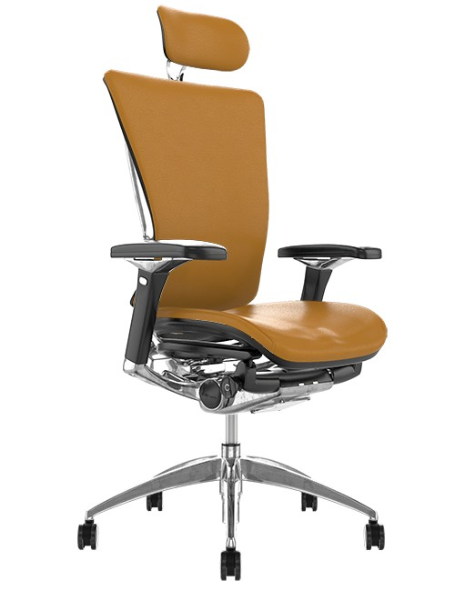 Nefil Tan Saffron Leather Office Chair with Head Rest
