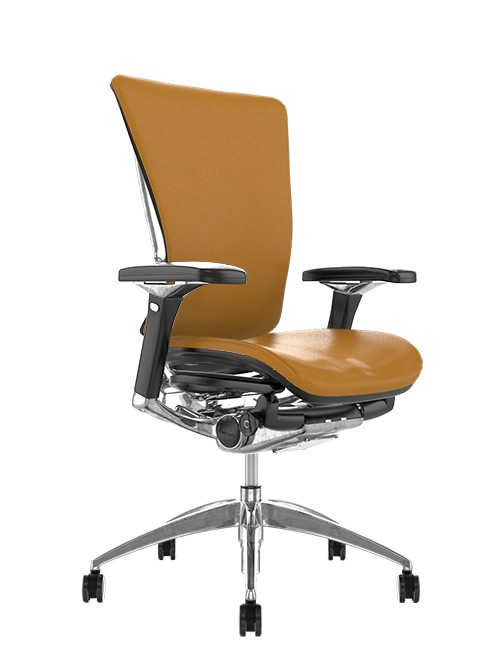 Nefil Tan Saffron Leather Office Chair