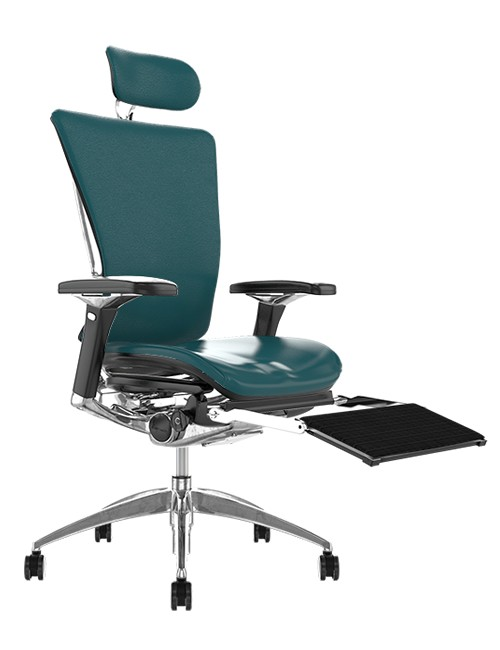 Nefil Teal Leather Office Chair with Head Rest and Leg Rest