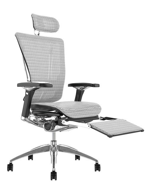 Nefil White Mesh Office Chair with Head Rest and Leg Rest